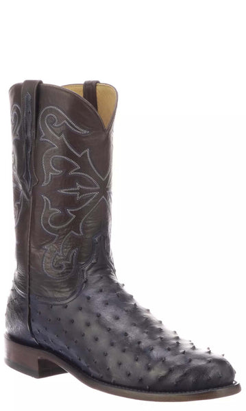 Lucchese HUDSON N3041 Mens Antique Navy Full Quill Ostrich Boots