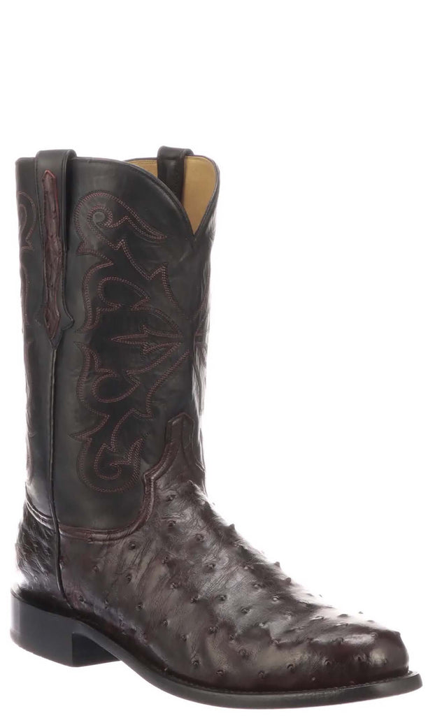 Lucchese HUDSON N3042 Mens Antique Black Cherry Full Quill Ostrich Boots