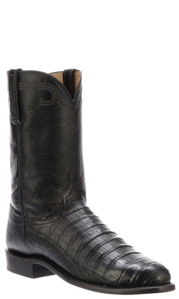 Lucchese GERARD N3048.C2 Mens Black Caiman Crocodile Belly Roper Boots