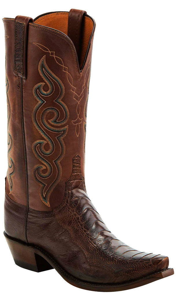 Lucchese YVETTE N4058 Womens Chocolate Burnished Ostrich Leg Boots