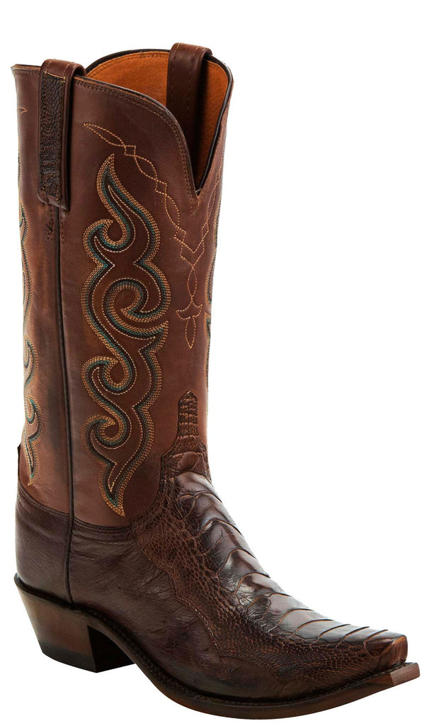 Lucchese YVETTE N4058.74 Womens Chocolate Burnished Ostrich Leg Boots
