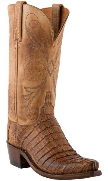 Lucchese N4083.S54 Womens Tan Caiman Crocodile Tail Boots