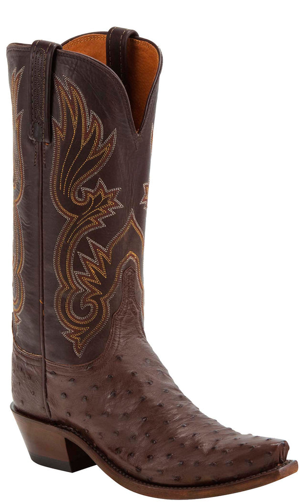 Lucchese DOLLY N4090 Womens Sienna Brown Full Quill Ostrich Boots