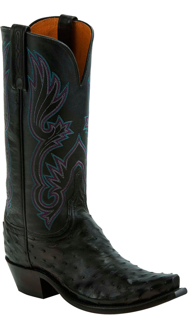 Lucchese DOLLY N4091 Womens Black Full Quill Ostrich Boots
