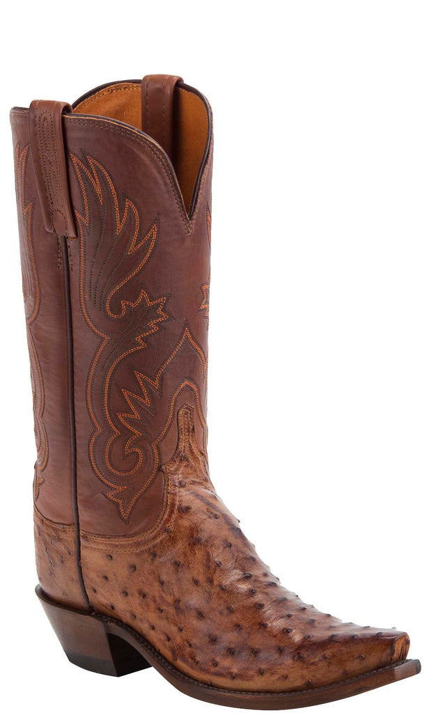 Lucchese DOLLY N4092.74 Womens Barnwood Burnished Full Quill Ostrich Boots