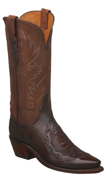 Lucchese BEATRICE N4093.54 Womens Chocolate Multiple Skin Tooled Boots