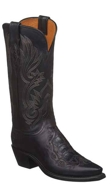 Lucchese BEATRICE N4095.54 Womens Black Multiple Skin Tooled Boots
