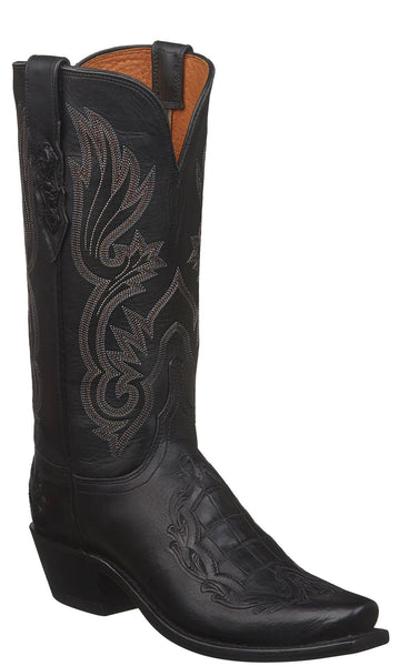 Lucchese BEATRICE N4095.74 Womens Black Calfskin with Exotic Inlay and Heel Boots