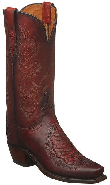 Lucchese BEATRICE N4096.74 Womens Red Multiple Skin Tooled Boots