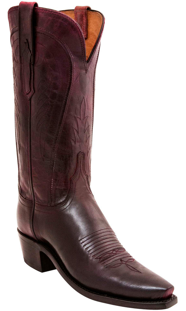 Lucchese WILLA N4764 Womens Black Cherry Mad Dog Goat Boots