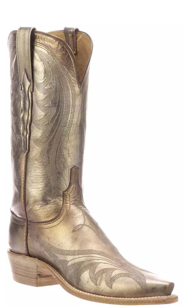Lucchese LILY N4800.53 Womens Antique Bronze Metallic Goat Boots