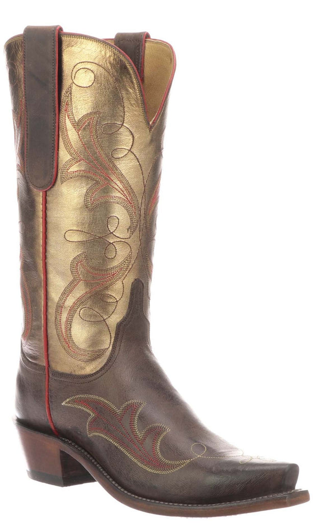 Lucchese TANSY N4816.S54 Womens Chocolate Burnished Mad Dog Goat Boots