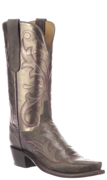 Lucchese TANSY N4817.S54 Womens Anthracite Grey Burnished Mad Dog Goat Boots