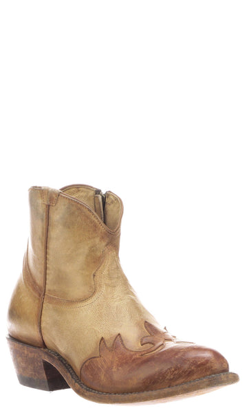 Lucchese FLORA N6565.V4 Womens Stonwashed Antique Pearl Bone Burnished Mad Dog Goat Boots