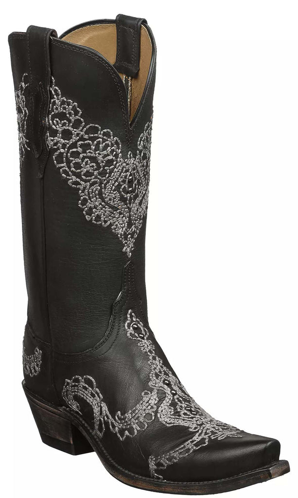 Lucchese N9575.S54 Womens Black Mad Dog Goat Boots