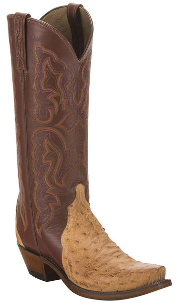 Lucchese N9622.S54 Womens Tan Burnished Full Quill Ostrich Boots