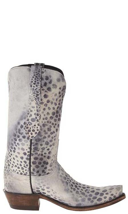 Lucchese N9636.S53 Womens White Grey Black Cheetah Print Boots