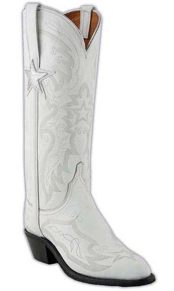 Lucchese  NV4009 Womens White Dallas Cowboy Cheerleader Goat Boots