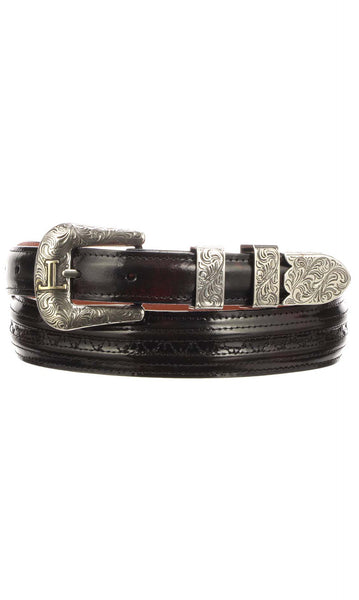 Lucchese W2212H Mens 1.25 Inch Black Cherry Goat Hobby Belt