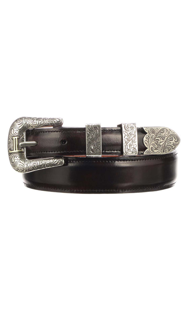 Lucchese W2212 Mens 1.25 Inch Black Cherry Goat Plain Belt