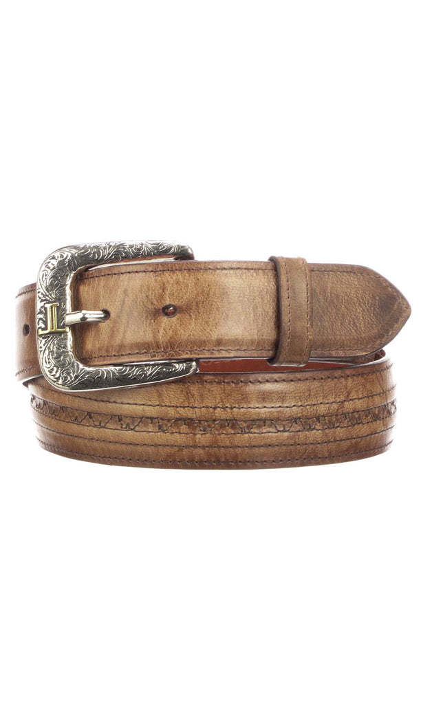 Lucchese W2241H Mens 1.5 Inch Tan Mad Dog Goat Hobby Stitch Belt