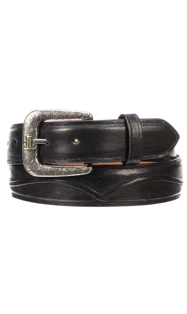 Lucchese W4201S Mens 1.5 Inch Black Ranch Hand Calfskin Seville Belt Size 32 STALL STOCK