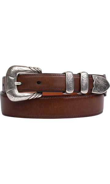 Lucchese W4252 Mens 1.25 Inch Tan Burnished Ranch Hand Calfskin Plain Belt