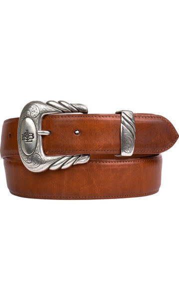 Lucchese W4271 Cognac Burnished Ranch Hand Calfskin Mens Belt