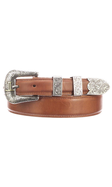 Lucchese W4272 Mens 1.25 Inch Cognac Burnished Ranch Hand Calfskin Plain Belt