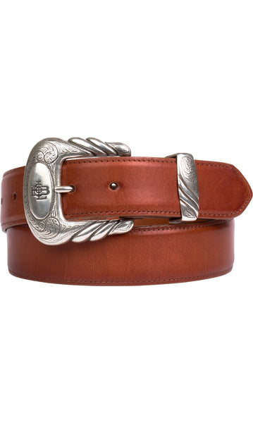 Lucchese W5261 Mens 1.5 Inch Cognac Burnished Baby Buffalo Plain Belt