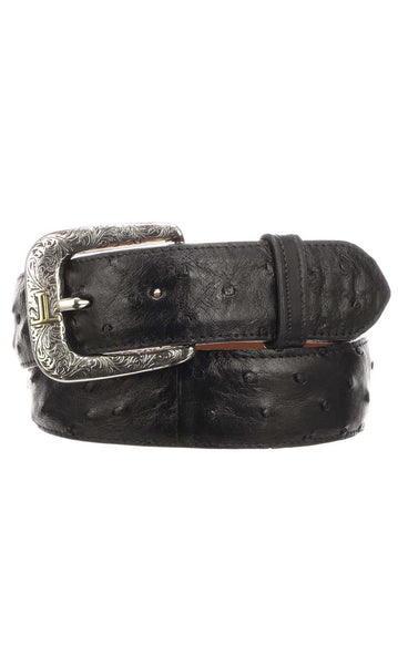 Lucchese W6011 Mens 1.5 Inch Black Full Quill Ostrich Plain Belt