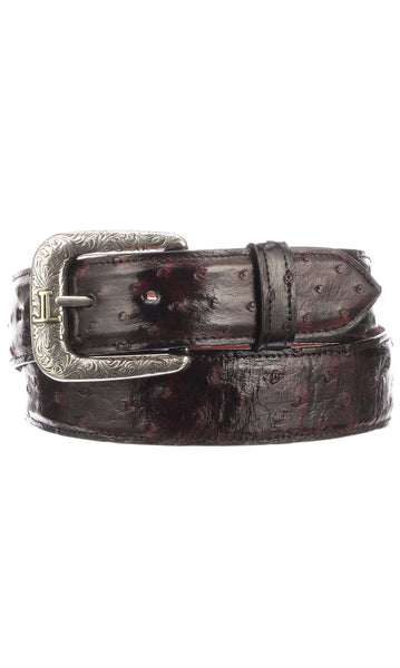Lucchese W6021 Mens 1.5 Inch Black Cherry Full Quill Ostrich Plain Belt