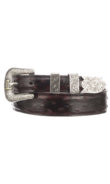 Lucchese W6022 Black Cherry Full Quill Ostrich Mens Belt