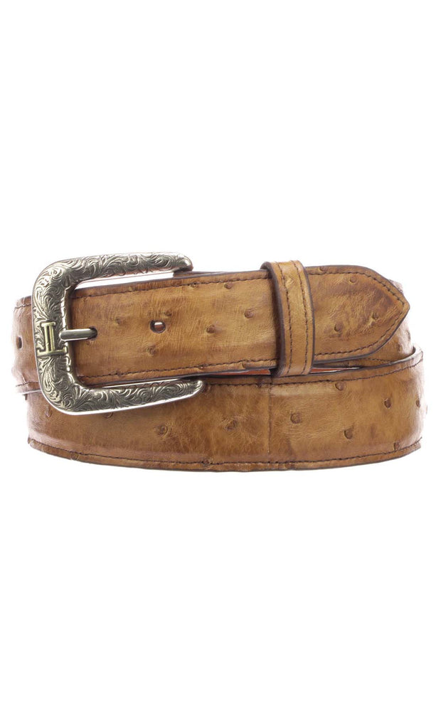 fbbf8691e40 Lucchese W6131 Tan Burnished Full Quill Ostrich Mens Belt