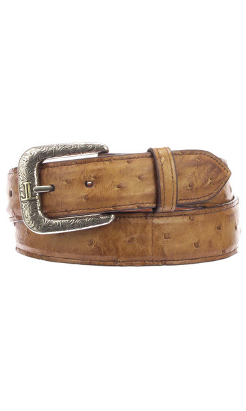 Lucchese W6131 Tan Burnished Full Quill Ostrich Mens Belt