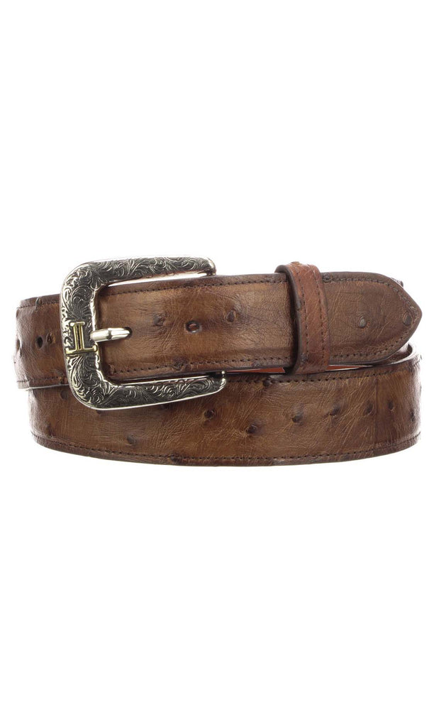 Lucchese W6141 Mens 1.5 Inch Barnwood Burnished Full Quill Ostrich Plain Belt