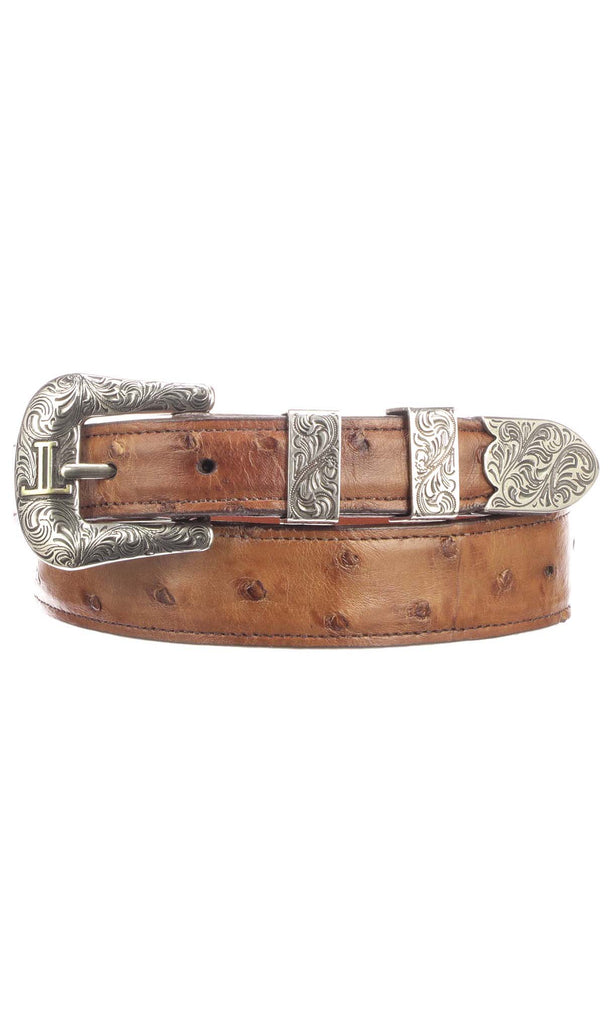 Lucchese W6142 Mens 1.25 Inch Barnwood Burnished Full Quill Ostrich Plain Belt