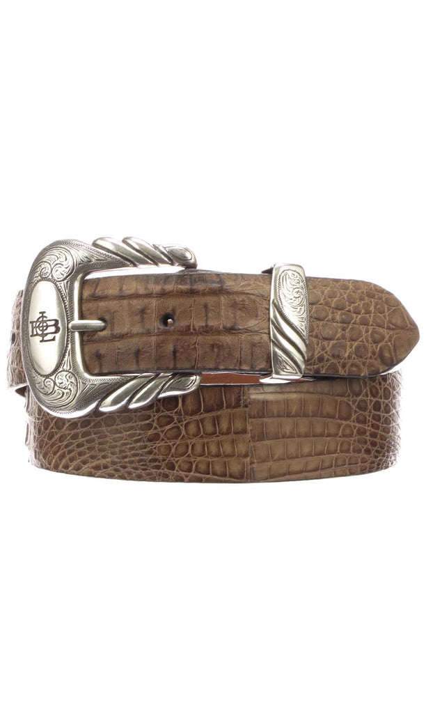 Lucchese W9311 Mens 1.5 Inch Tan Burnished Hornback Caiman Crocodile Plain Belt