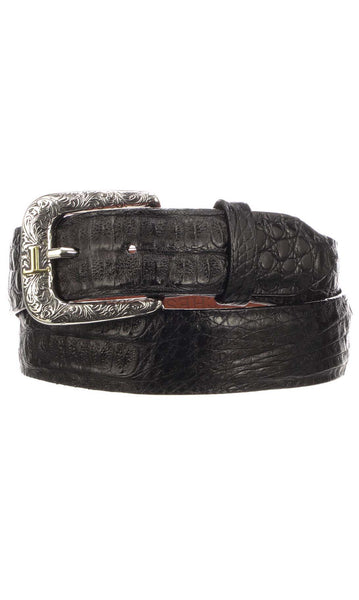 Lucchese W9321 Mens 1.5 Inch Black Hornback Caiman Crocodile Plain Belt