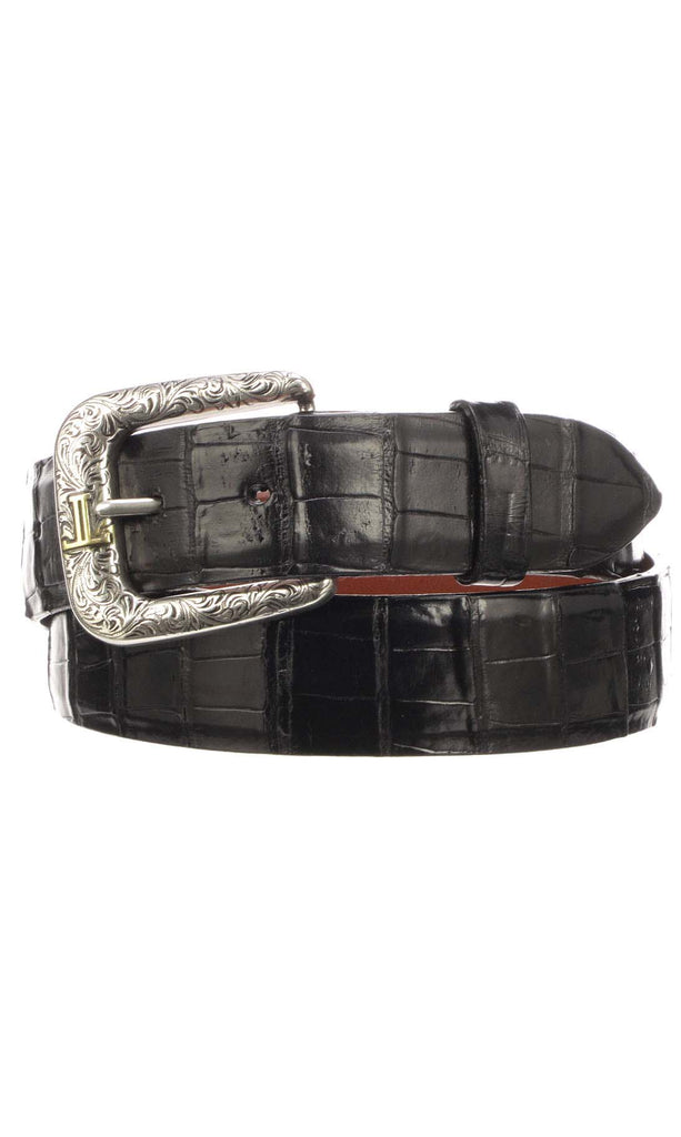 Lucchese W9401 Mens 1.5 Inch Black Ultra Belly Caiman Crocodile Plain Belt