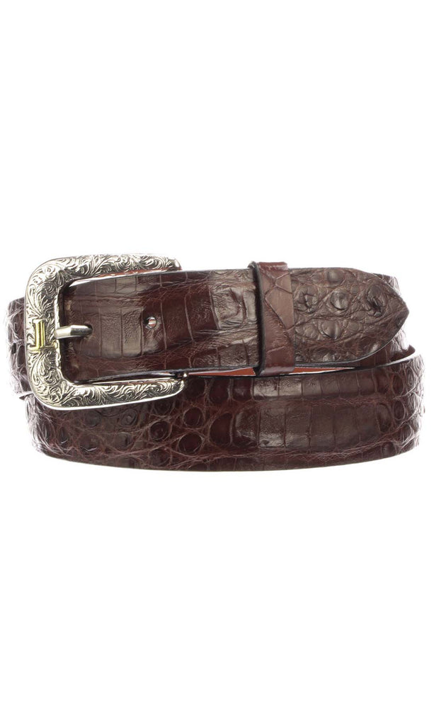 Lucchese W9411 Mens 1.5 Inch Sienna Ultra Belly Caiman Crocodile Plain Belt