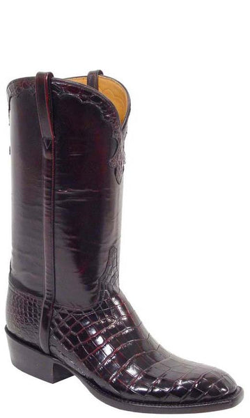 Lucchese Classics L1258 Mens Black Cherry Nile Belly Crocodile Boots