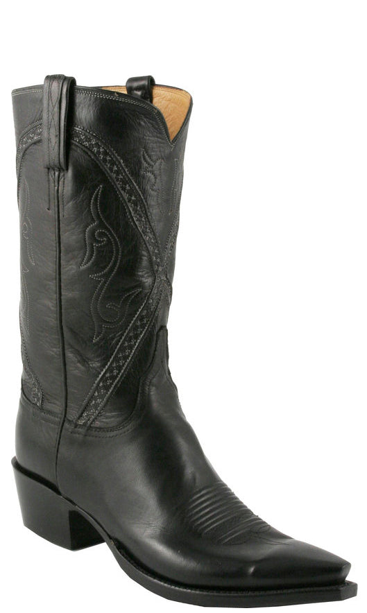 Lucchese Classics L1662 Mens Black Baby Buffalo Cowboy Boots