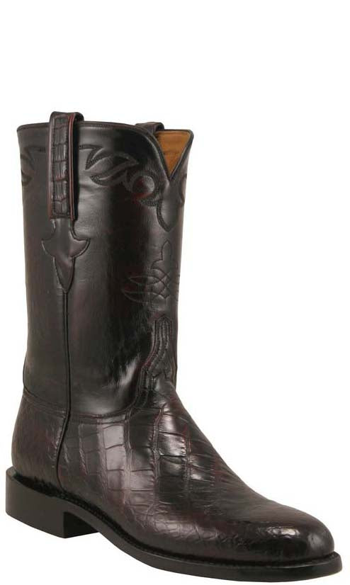 1945e444002 Lucchese Classics L3020 Mens Black Cherry Brush Off American Alligator  Belly Roper Boots