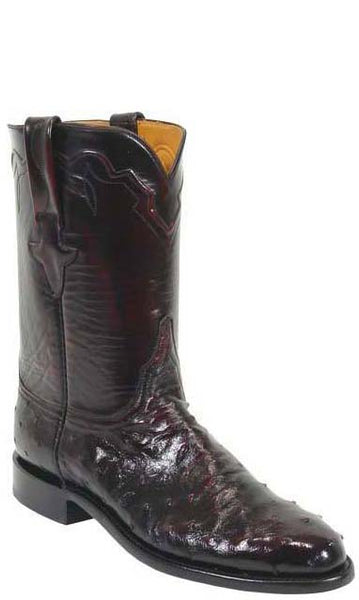Lucchese Classics L3083 Mens Black Cherry Full Quill Ostrich Roper Boots