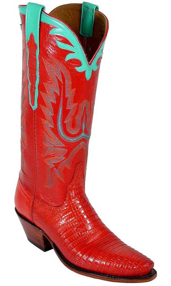 Lucchese Classics L4074 Womens Red Lizard Skin Boots