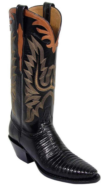 Lucchese L4075 Womens Black Lizard Skin Classics Boots