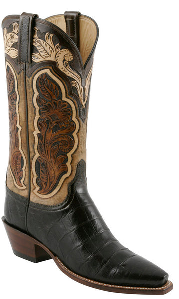 Lucchese L4132 Chocolate Ultra Belly Caiman Crocodile Womens Classics Boots