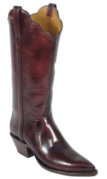 Lucchese Classics L4558 Womens Black Cherry Buffalo Leather Boots