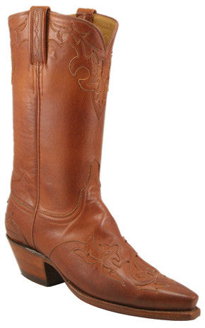 Lucchese Classics L4635 Womens Cognac Ranch Hand Calfskin Leather Boots